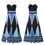 Blue Geometric Condole Belt Cut Out V-neck National Maxi Dress