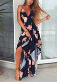 Navy Blue Floral Condole Belt Irregular Cross Back Maxi Dress