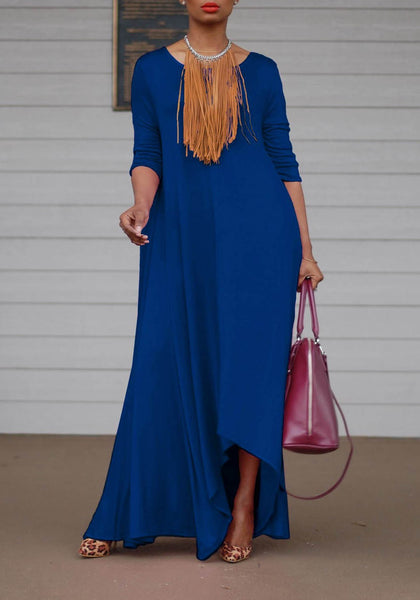 Blue Irregular Draped Oversize Round Neck Party Maxi Dress