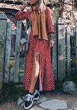 Red Patchwork Irregular Buttons Bohemian High-low Beach Long Sleeve Maxi Dress