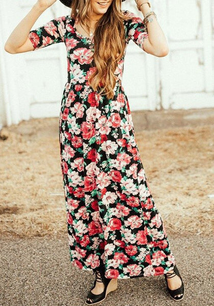 Black Floral Draped Round Neck Short Sleeve Maxi Dress