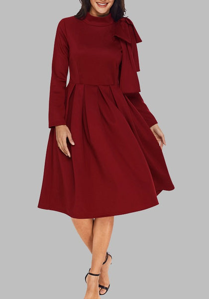 Burgundy Pleated Bow Long Sleeve Flare Out Formal Elegant Cocktail Party Midi Dress