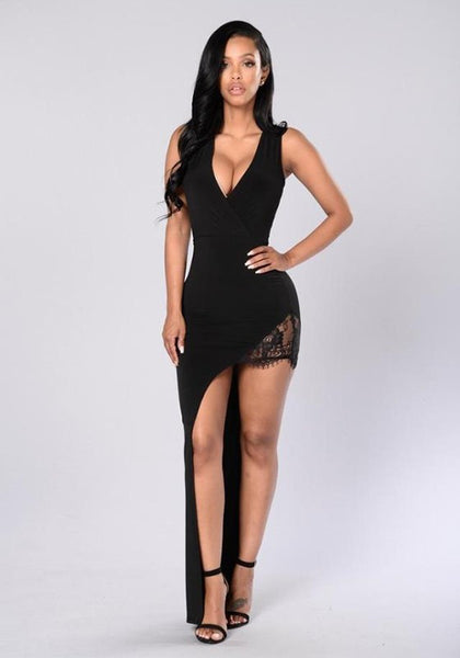 Black Patchwork Irregular Lace Plunging Neckline Fashion Maxi Dress