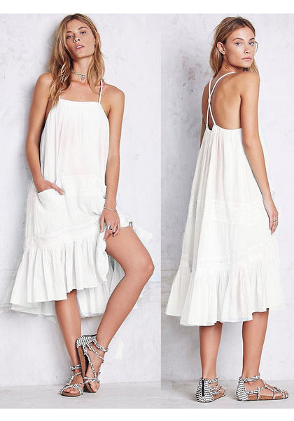 White Draped Ruffle Pockets Cross Back Backless Spaghetti Strap Cute Midi Dress