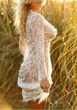 White Floral Lace Embroidery Draped Deep V-neck Long Sleeve Maxi Dress