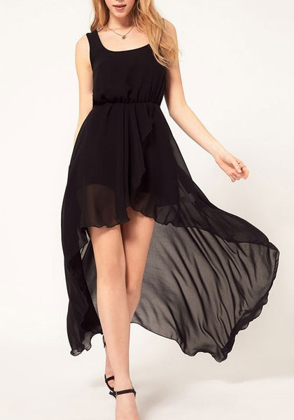 Black Irregular High-low Chiffon Round Neck Homecoming Party Maxi Dress