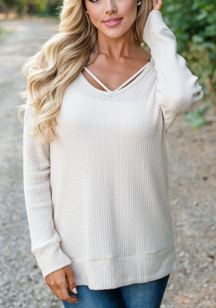 White Plain Cut Out Casual Hooded Pullover Sweater