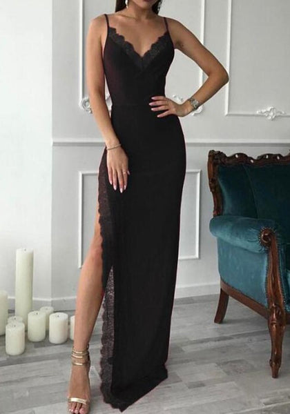 Black Patchwork Lace Spaghetti Straps Slit V-neck Maxi Dress