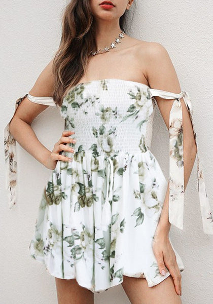 White Floral Print Pleated Belt High Waisted Short Jumpsuit