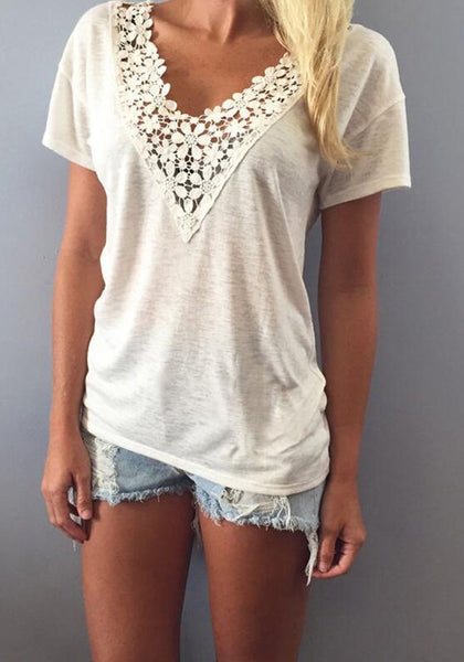 White Patchwork Lace V-neck T-Shirt