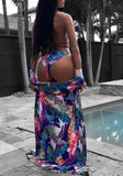 Blue Floral Sashes Cross Back Three-pieces Halter Neck Long Sleeve Bikini Swimwear