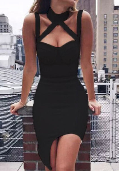 Black Irregular Cut Out Fashion Sleeveless Midi Dress