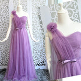 Purple Asymmetric Shoulder Grenadine Bow One-shoulder Backless Wedding Bridesmaid Maxi Dress