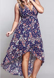 Purple Bohemian Floral High-low Deep V-neck Homecoming Party Maxi Dress