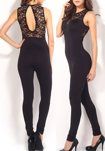 Black Patchwork Lace Elastic Waist Spandex Long Jumpsuit