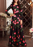 Black Floral Round Neck Long Sleeve Elegant Maxi Dress