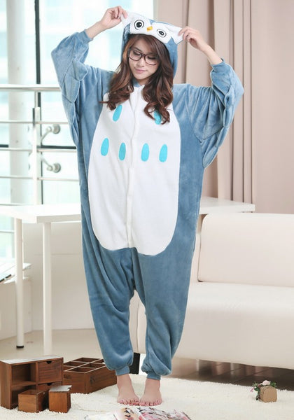 Blue Animal Owl Single Breasted Pockets Hooded Cute One Piece Pajamas Long Jumpsuit