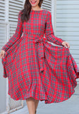 Red Plaid Belt Draped Round Neck Long Sleeve Vintage Midi Dress