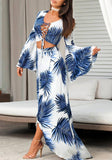 White Leaves Print Irregular High-low Two Piece Flare Sleeve Bohemian Maxi Dress
