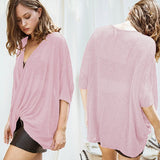 Light Pink Irregular Three Quarter Length Sleeve Fashion T-Shirt