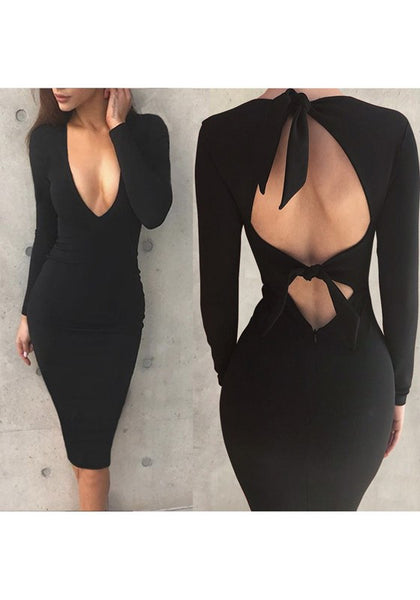 Black Cut Out Tie Back V-neck Long Sleeve Midi Dress