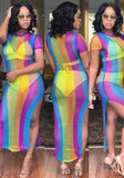 Multicolor Striped Cut Out Double Slit Short Sleeve Club Maxi Dress