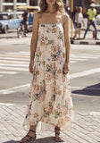 Beige Floral Print Draped Spaghetti Straps Backless Maternity Bohemian Maxi Dress