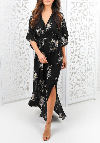 Black Floral Print Irregular Plunging Neckline Short Sleeve Maxi Dress