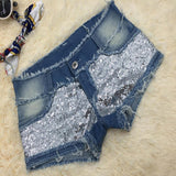 Blue Patchwork Sequin Buttons Mid-rise Casual Short Jeans