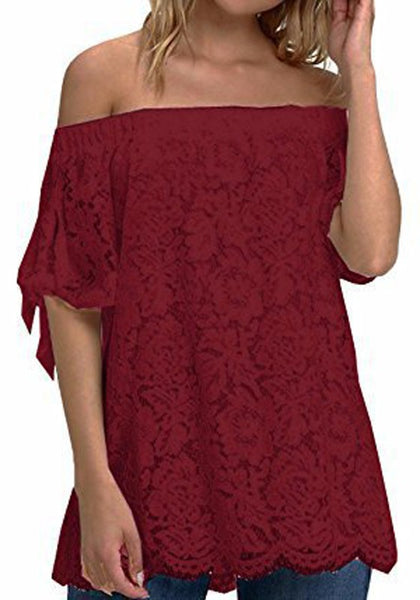 Burgundy Lace Off Shoulder Backless Plus Size Sweet Going out Blouse