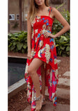 Red Irregular Draped Spaghetti Strap Flowy High Waisted Bohemian Sweet Party Maxi Dress