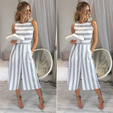 Grey Striped Pockets Cut Out Zipper Fashion Seven's Palazzo Jumpsuit