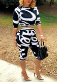Black Zebra Print Half Sleeve Two Piece Sports Casual Five's Jumpsuit