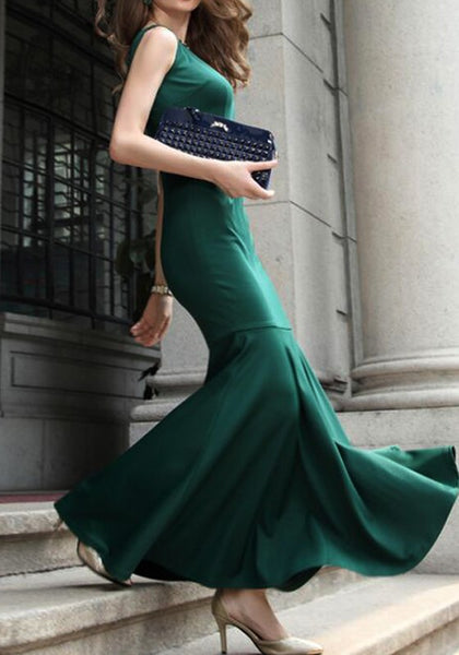 Green Ruffle Zipper Round Neck Fashion Maxi Dress