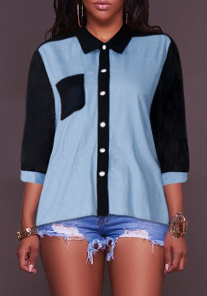 Blue Black Patchwork Pockets Buttons Turndown Collar V-neck Fashion Blouse