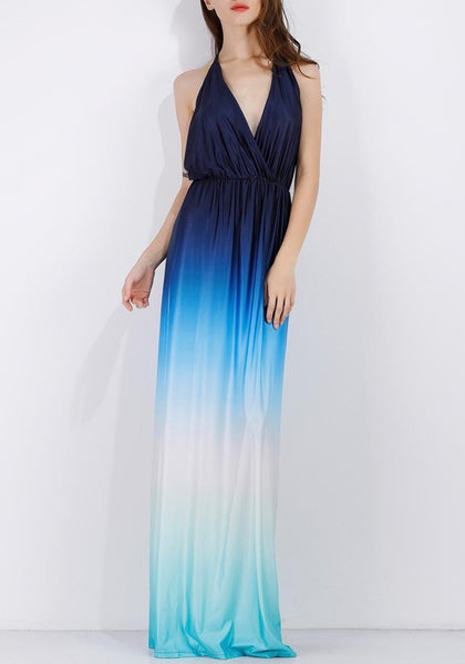 Blue Patchwork Cut Out Pleated Gradient Color Backless Beach Maxi Dress