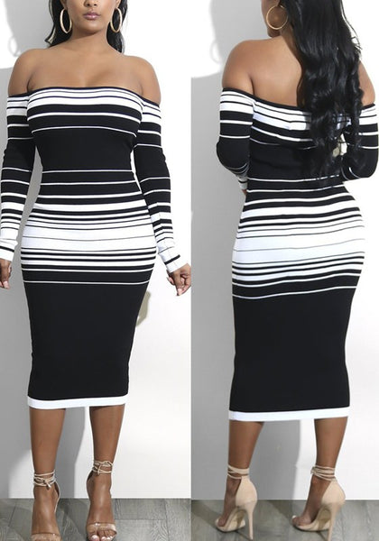 White-Black Striped Bandeau Off Shoulder Backless Bodycon Cocktail Party Midi Dress