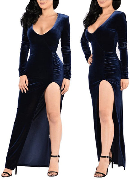 Navy Blue Draped Side Slit Scoop Neck Long Sleeve Maxi Dress