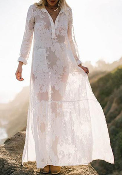 White Draped Lace Embroidery Side Slit Sheer Beach Bohemian Maxi Dress