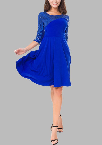 Blue Patchwork Sequin Draped 3/4 Sleeve High Waisted Elegant Party Midi Dress