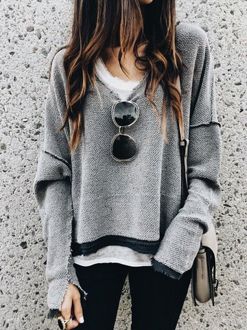 New Grey V-neck Long Sleeve Fashion Going out Pullover Sweatshirt