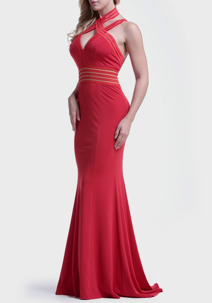 Red Irregular Backless V-neck Sleeveless Floor Length Maxi Dress