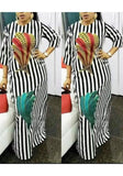 Black Striped Feather Print Draped High Waisted Elegant Party Maxi Dress