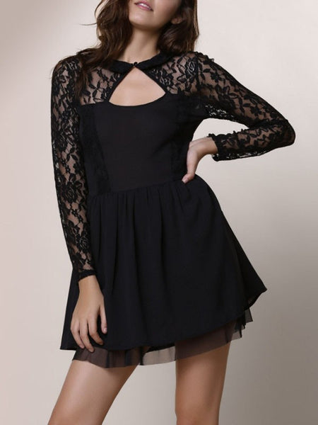 Black Patchwork Lace Cut Out Backless Ruched Party Skater Mini Dress