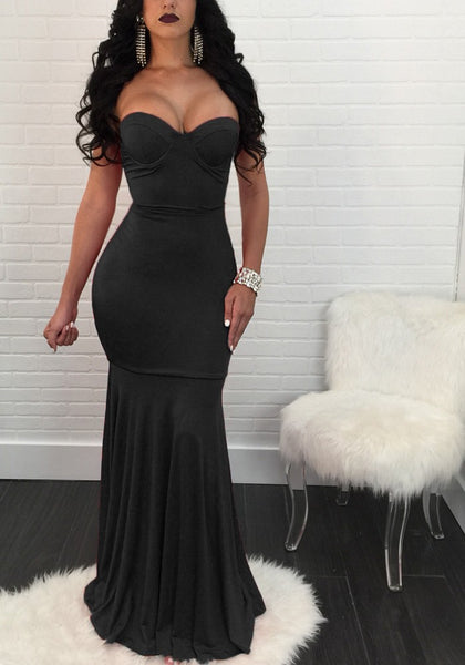 Black Pleated Mermaid Backless Off Shoulder Banquet Elegant Party Maxi Dress