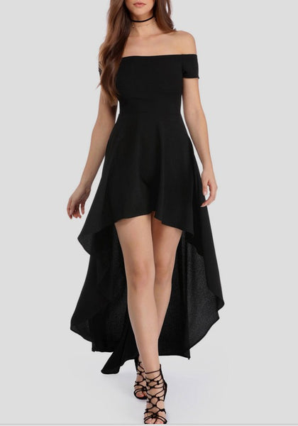 Black Draped Bandeau Irregular High-low Backless Elegant Maxi Dress