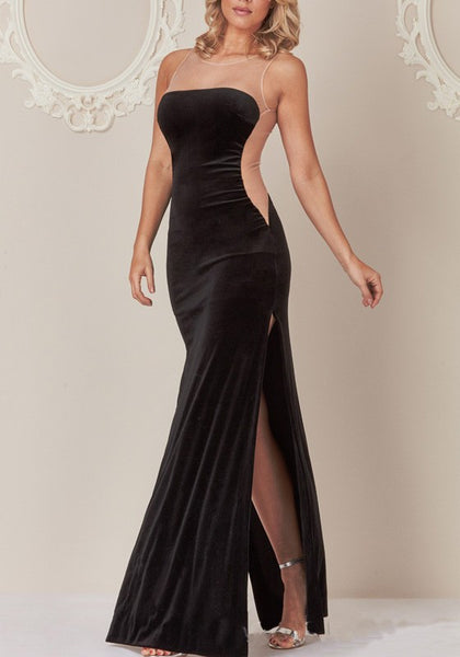 Black Patchwork Grenadine Zipper Sheer Backless Side Slit Formal Party Elegant Maxi Dress