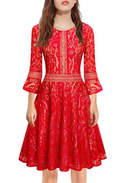 Red Patchwork Lace Draped Round Neck Long Sleeve Midi Dress