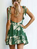 Green Plunge Tie Shoulder Open Back Print Detail Mini Dress