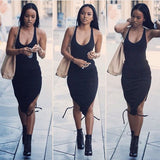 Black Drawstring Round Neck Sleeveless Fashion Midi Dress